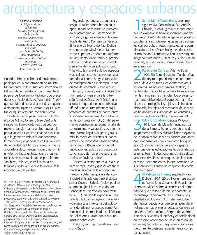Listas Fundamentales de la Cultura Mexicana-Arquitectura