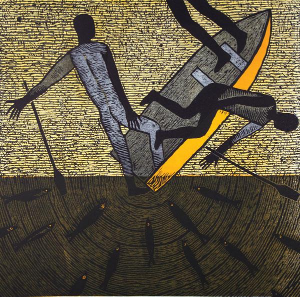 Naufragio, xilografía, 59 x 59, 2001.
