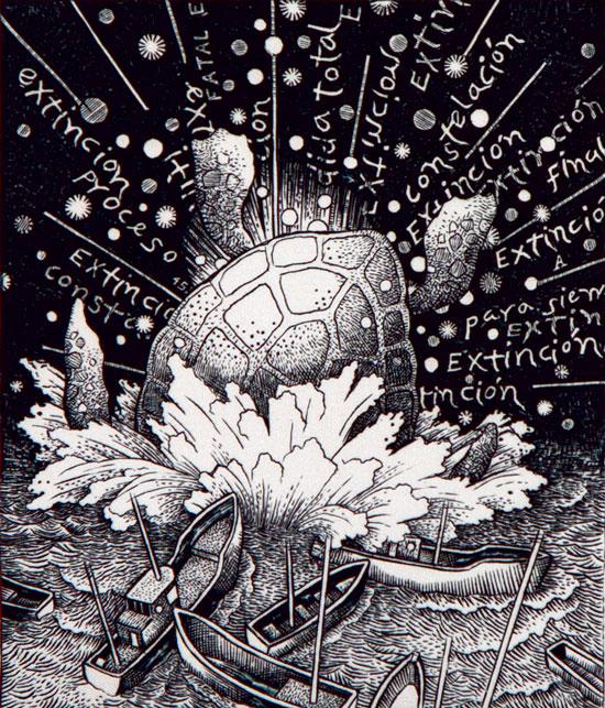 Animalias (detalle), grabado al buril 9.5 x 29.5, 2011.