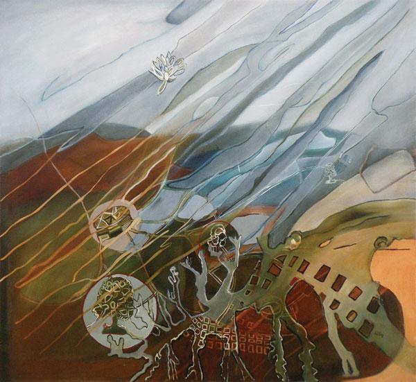 El soplo de Patinir, óleo / tela, 112 x 121, 2007.