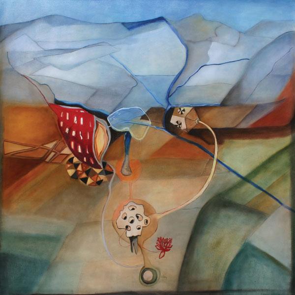 Mente-tierra, óleo / tela, 144 x 143, 2006-2007.