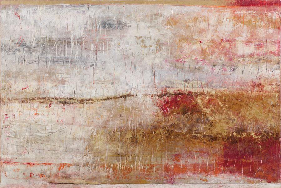 Virginia Chévez, Pule un espejo / de repente es un campo / de flores blancas, óleo sobre lino, 100 x 150, 2012.