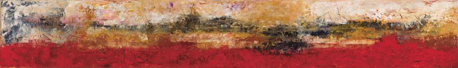 Montaña sin nombre II, óleo sobre lino y madera, 30 x 200, 2012.