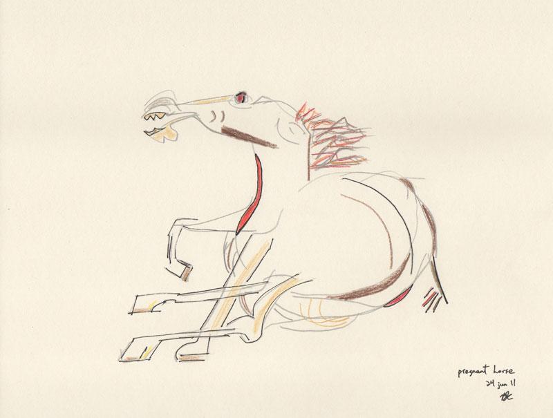 Pregnant horse, lápiz y tinta sobre papel crema, 21.6 x 28 in, 2011.©B.J. Carrick,