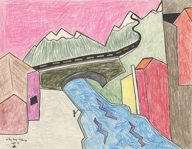 ©B.J. Carrick, City boy fishing, lápiz y tinta sobre papel crema, 21.6 x 28 in, 2011.