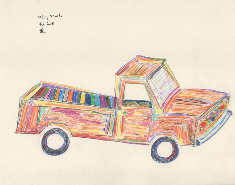 ©B.J. Carrick, Happy truck, lápiz y tinta sobre papel crema, 21.6 x 28, in, 2011.