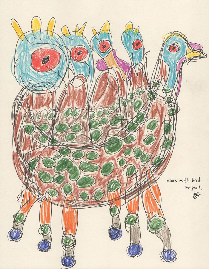 ©B.J. Carrick, Alien mitt bird, lápiz y tinta sobre papel crema, 21.6 x 28 in, 2011.