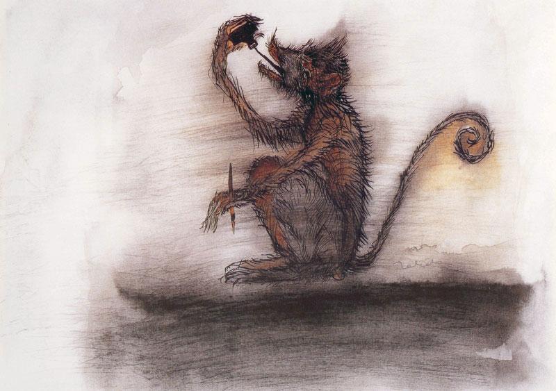 Francisco Toledo, El mono de la tinta, tinta y acuarela sobre papel, 24 x 34, 1983.