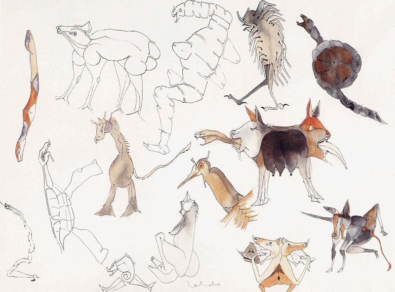 Francisco Toledo, Animales de los espejos, tinta y acuarela sobre papel, 24 x 34, 1983.