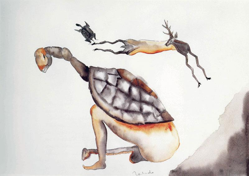 Francisco Toledo, La madre de las tortugas, tinta y acuarela sobre papel, 24 x 34, 1983.