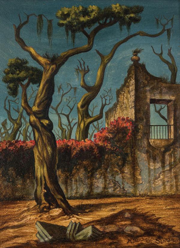 Manuel González Serrano, Árbol y arquitectura, óleo sobre tela, s.f.