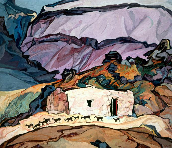 La Escondida o Paisaje de la Escondida o Las cabritas, óleo sobre tela, Pablo O´Higgings, 1971.